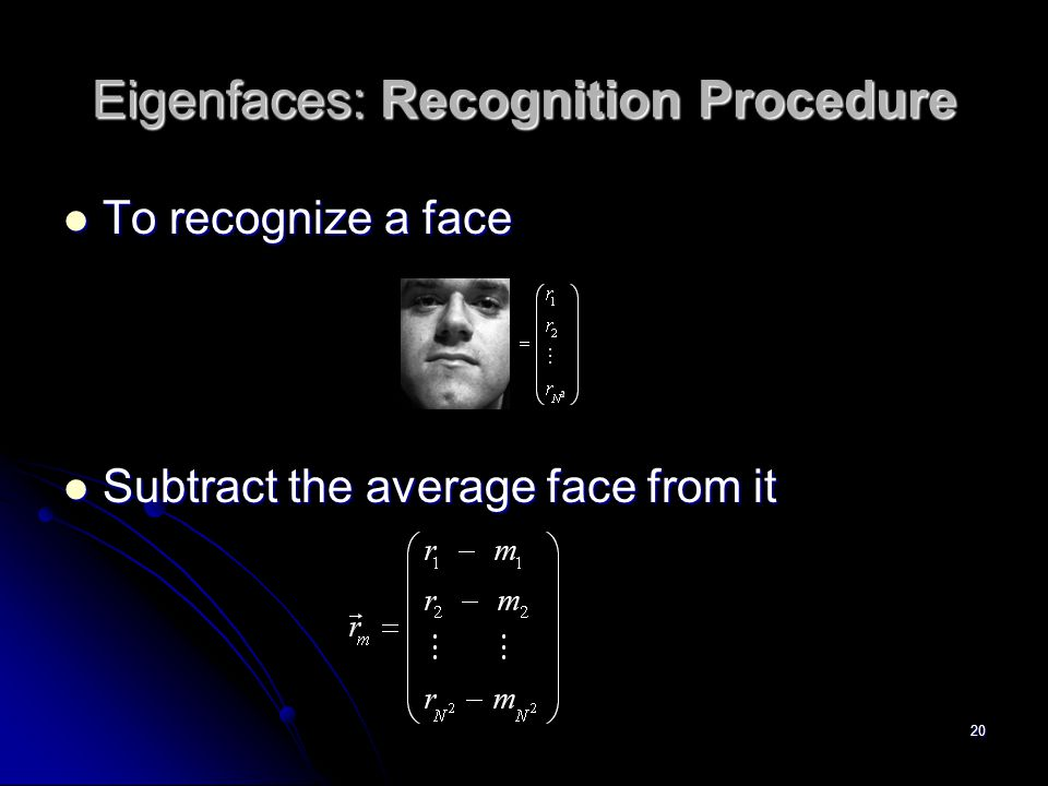 Eigenfaces: Recognition Procedure