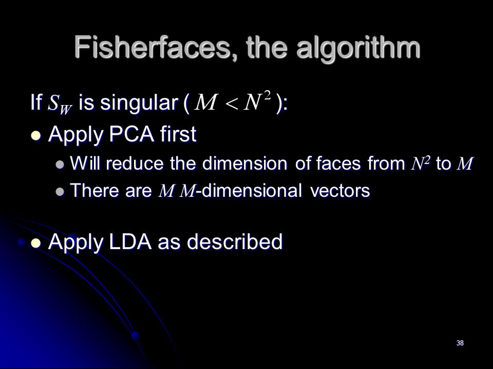 Fisherfaces, the algorithm