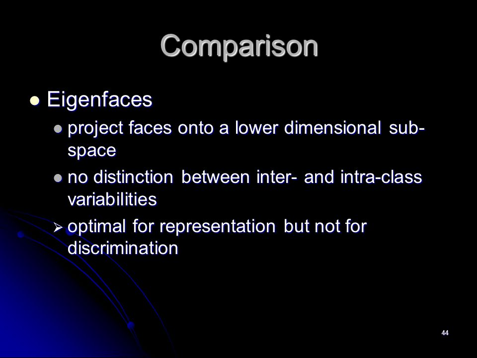 Comparison Eigenfaces project faces onto a lower dimensional sub-space