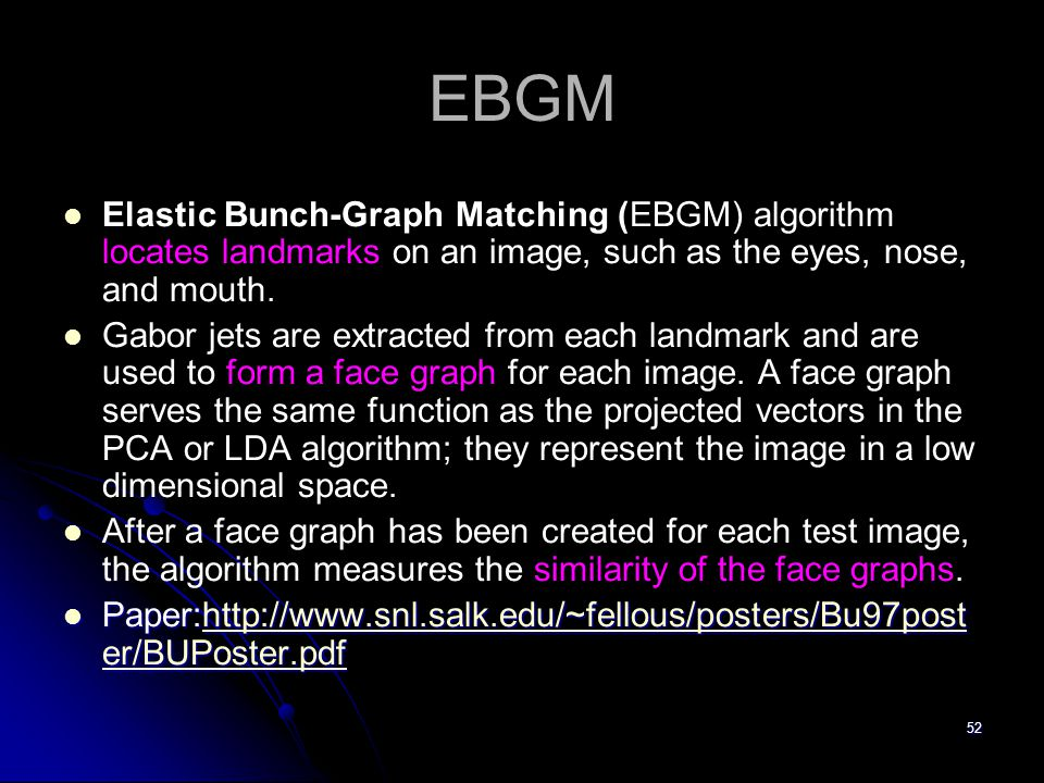 EBGM Elastic Bunch-Graph Matching (EBGM) algorithm locates landmarks on an image, such as the eyes, nose, and mouth.