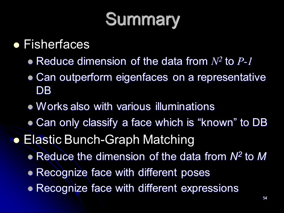 Summary Fisherfaces Elastic Bunch-Graph Matching