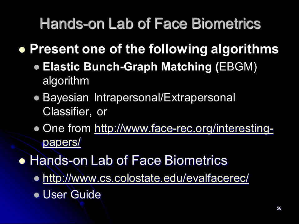 Hands-on Lab of Face Biometrics