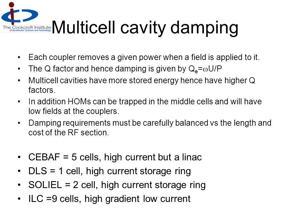 Multicell cavity damping