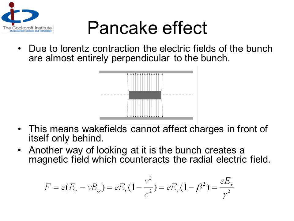 Pancake effect Due to lorentz contraction the electric fields of the bunch are almost entirely perpendicular to the bunch.
