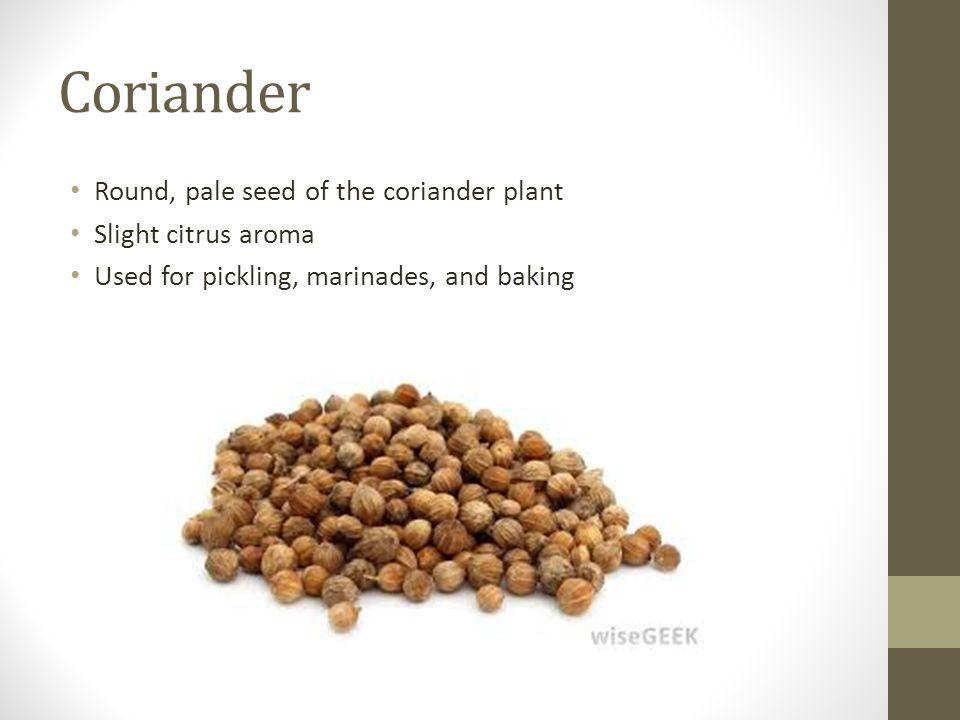 Coriander Round, pale seed of the coriander plant Slight citrus aroma