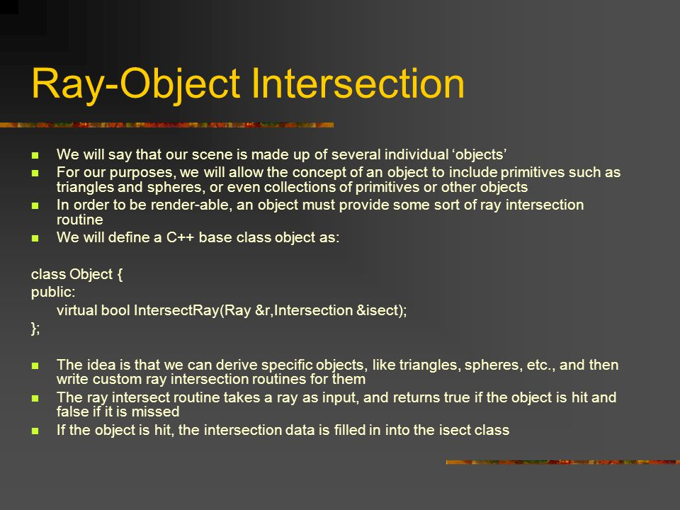Ray-Object Intersection