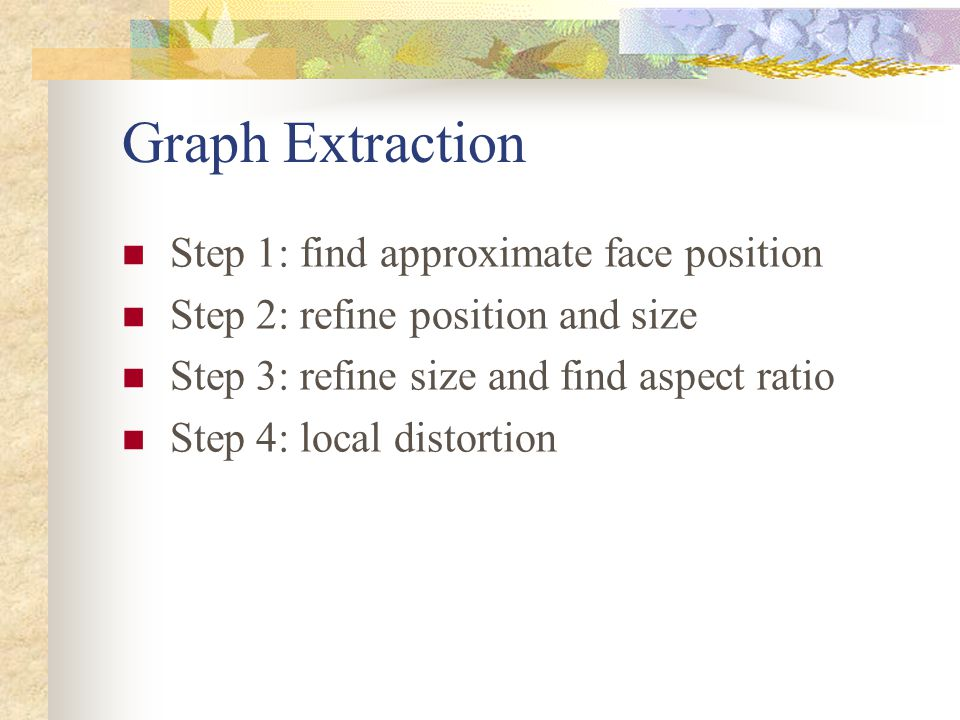 Graph Extraction Step 1: find approximate face position
