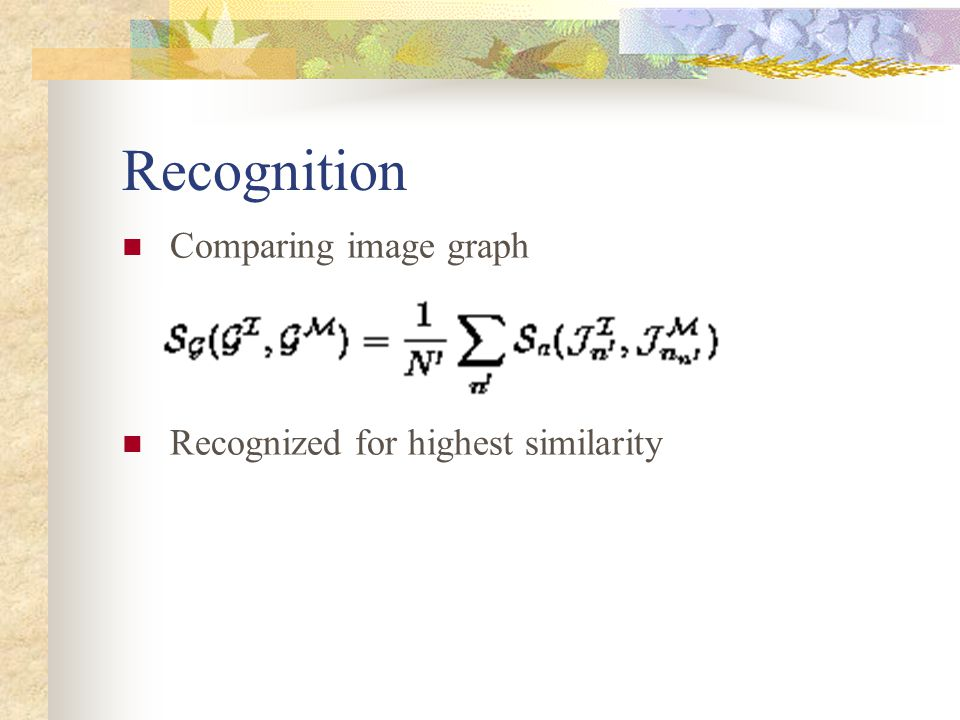 Recognition Comparing image graph Recognized for highest similarity