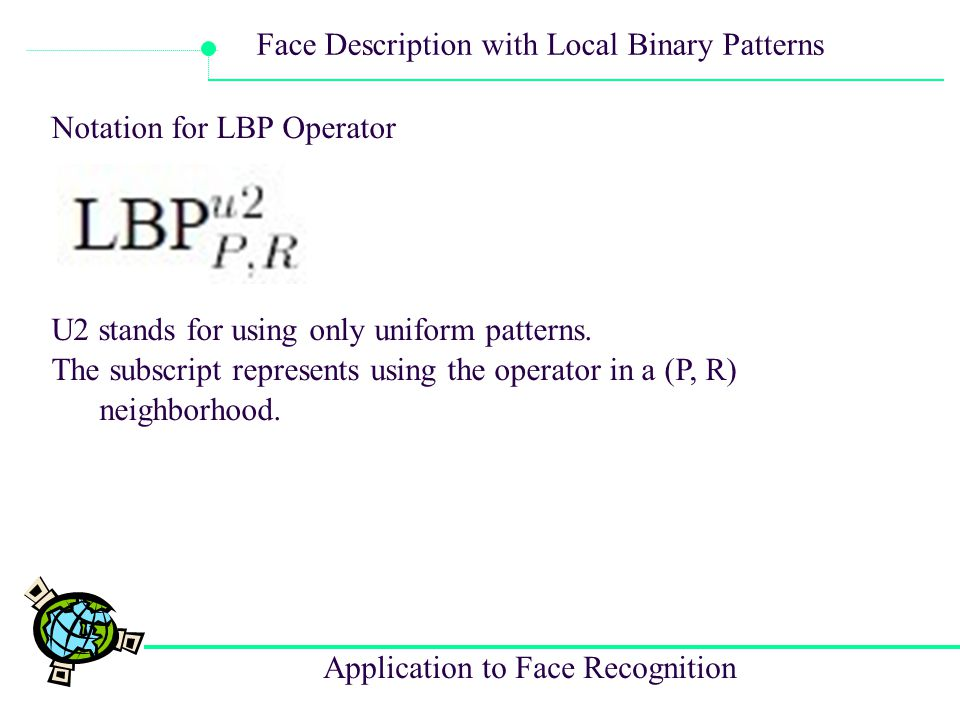 Notation for LBP Operator
