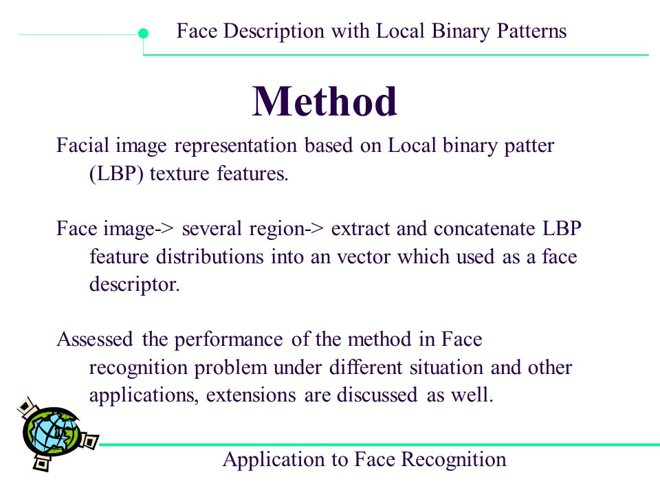 Method Facial image representation based on Local binary patter (LBP) texture features.