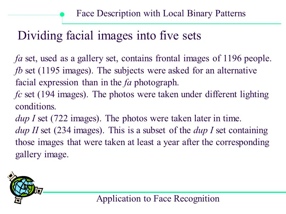 Dividing facial images into five sets