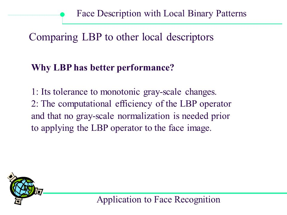 Comparing LBP to other local descriptors