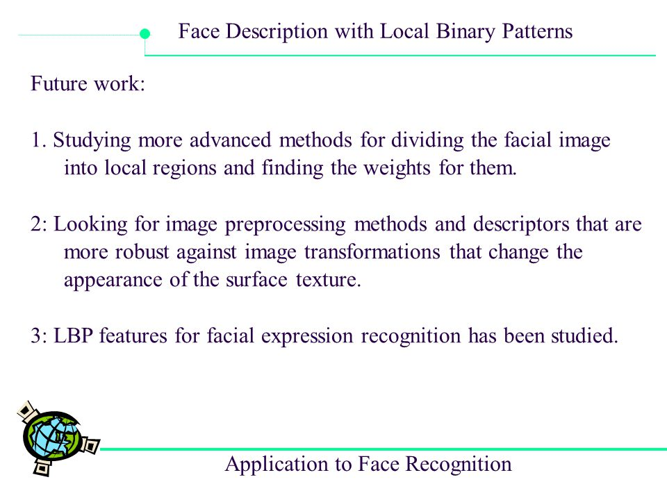 Future work: 1. Studying more advanced methods for dividing the facial image into local regions and finding the weights for them.