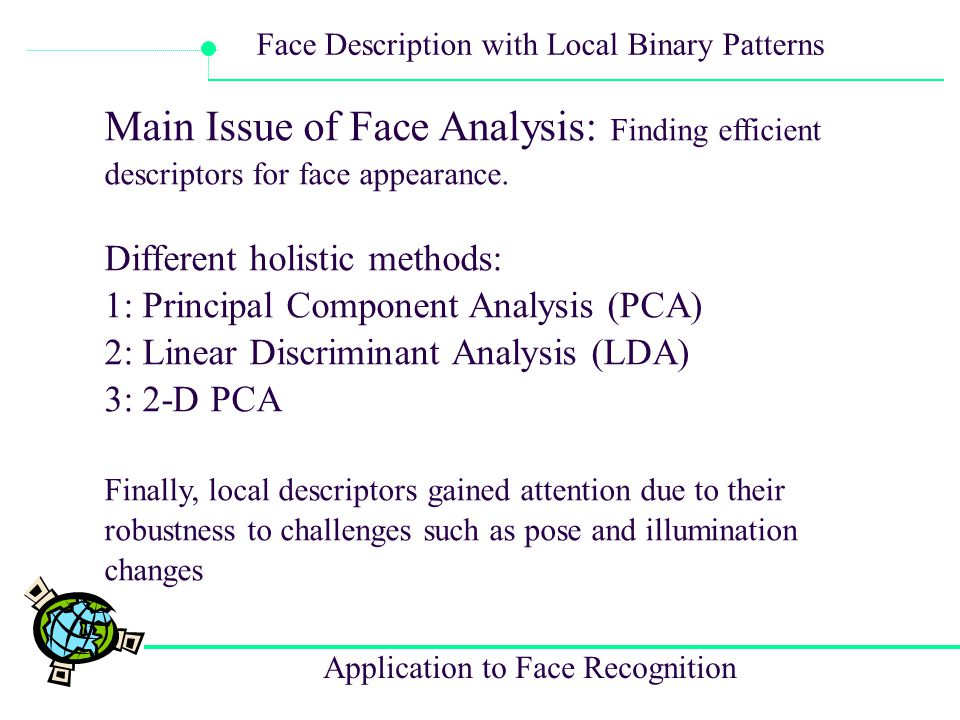 Main Issue of Face Analysis: Finding efficient descriptors for face appearance.