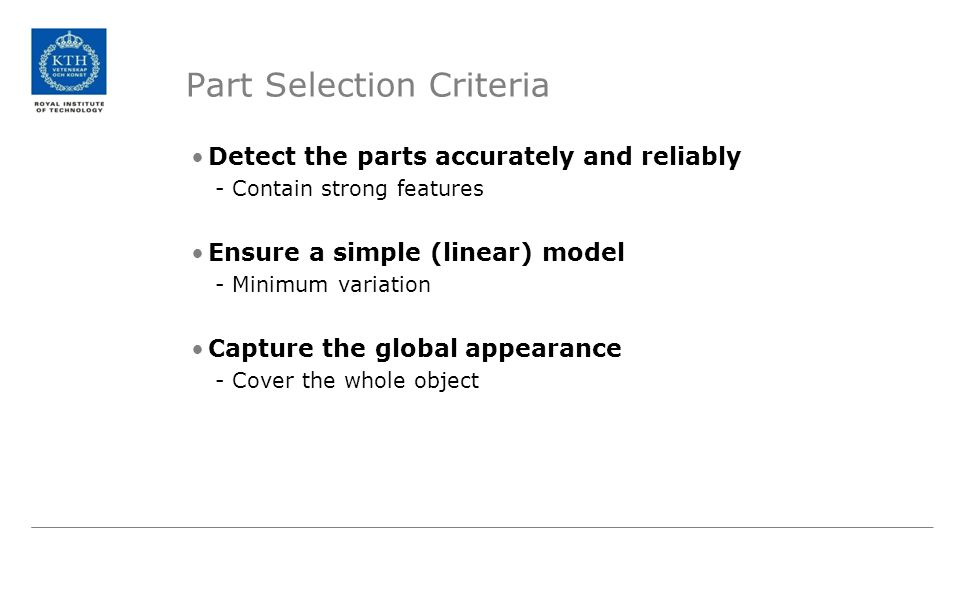 Part Selection Criteria