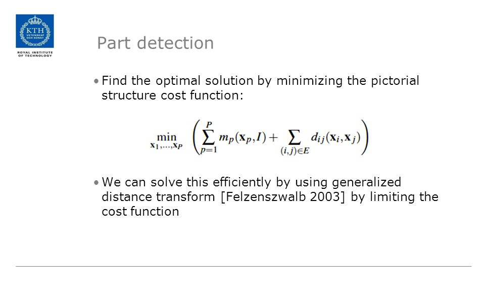 Part detection Find the optimal solution by minimizing the pictorial structure cost function: