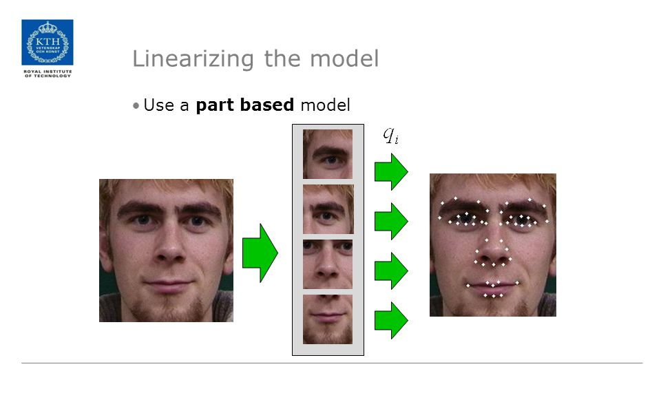 Linearizing the model Use a part based model