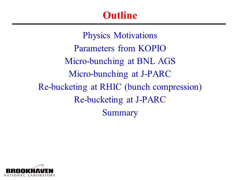 Outline Physics Motivations Parameters from KOPIO