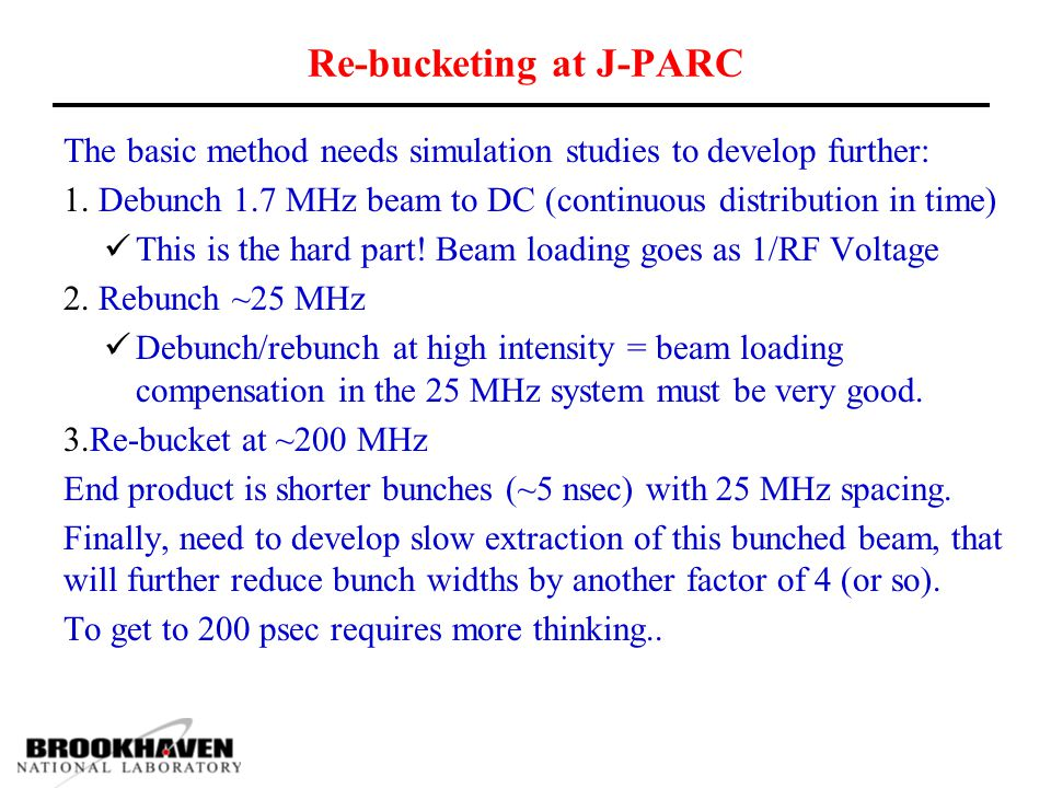 Re-bucketing at J-PARC