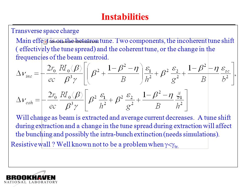 Instabilities Transverse space charge