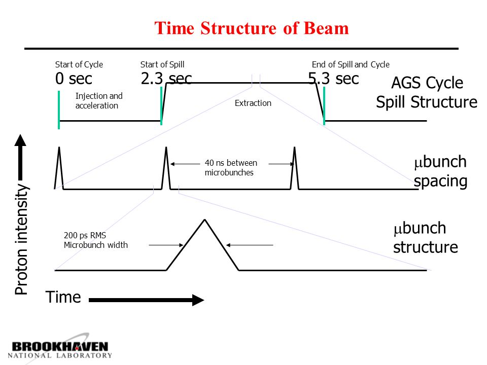 Time Structure of Beam AGS Cycle Spill Structure 0 sec 2.3 sec 5.3 sec