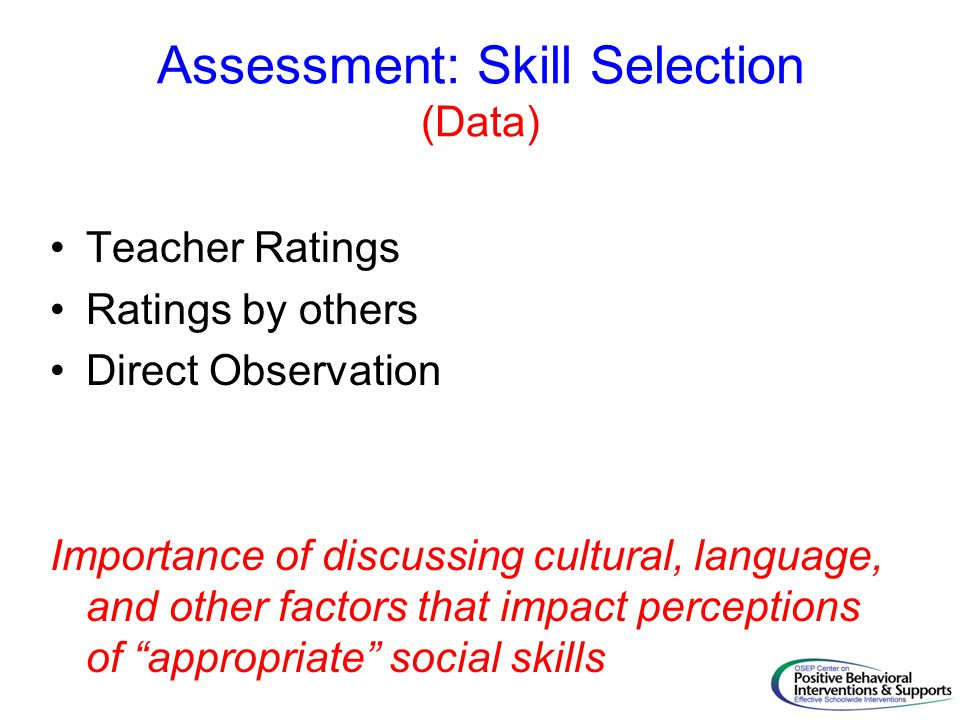 Assessment: Skill Selection (Data)