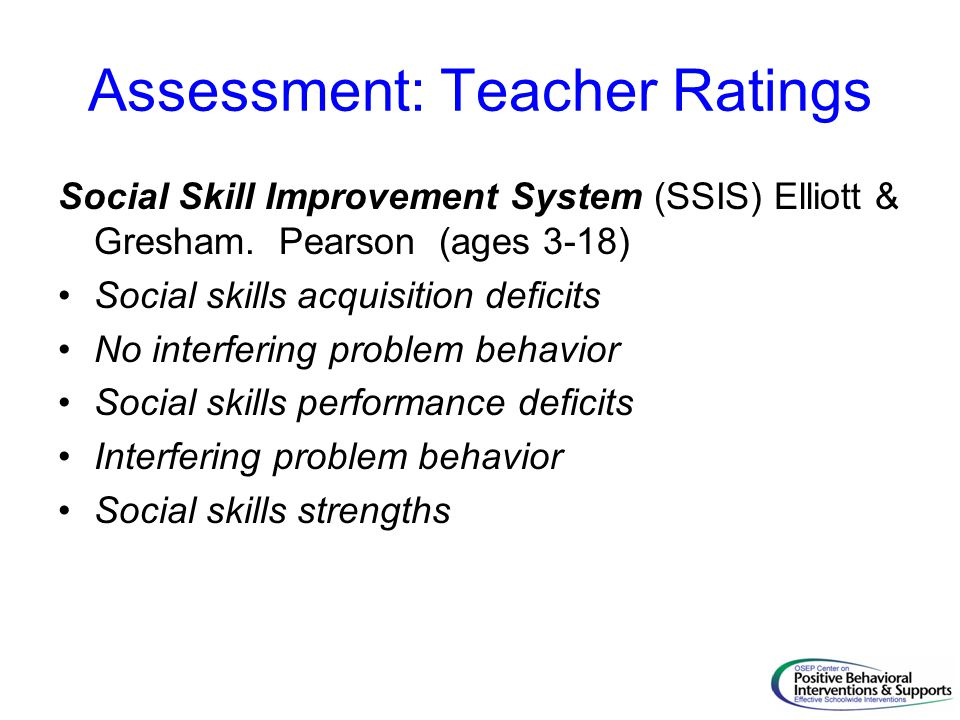 Assessment: Teacher Ratings