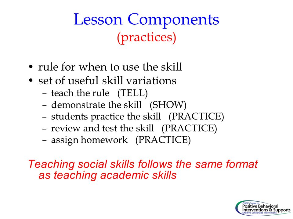 Lesson Components (practices)