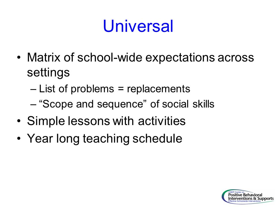 Universal Matrix of school-wide expectations across settings