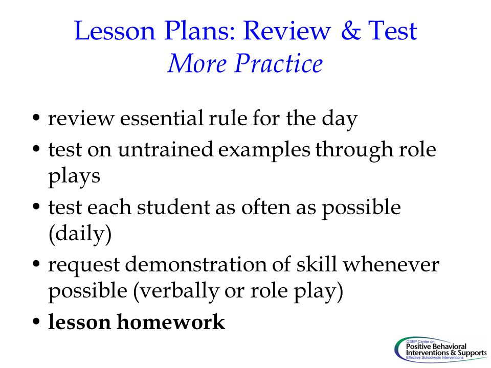 Lesson Plans: Review & Test More Practice