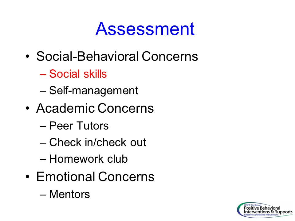 Assessment Social-Behavioral Concerns Academic Concerns