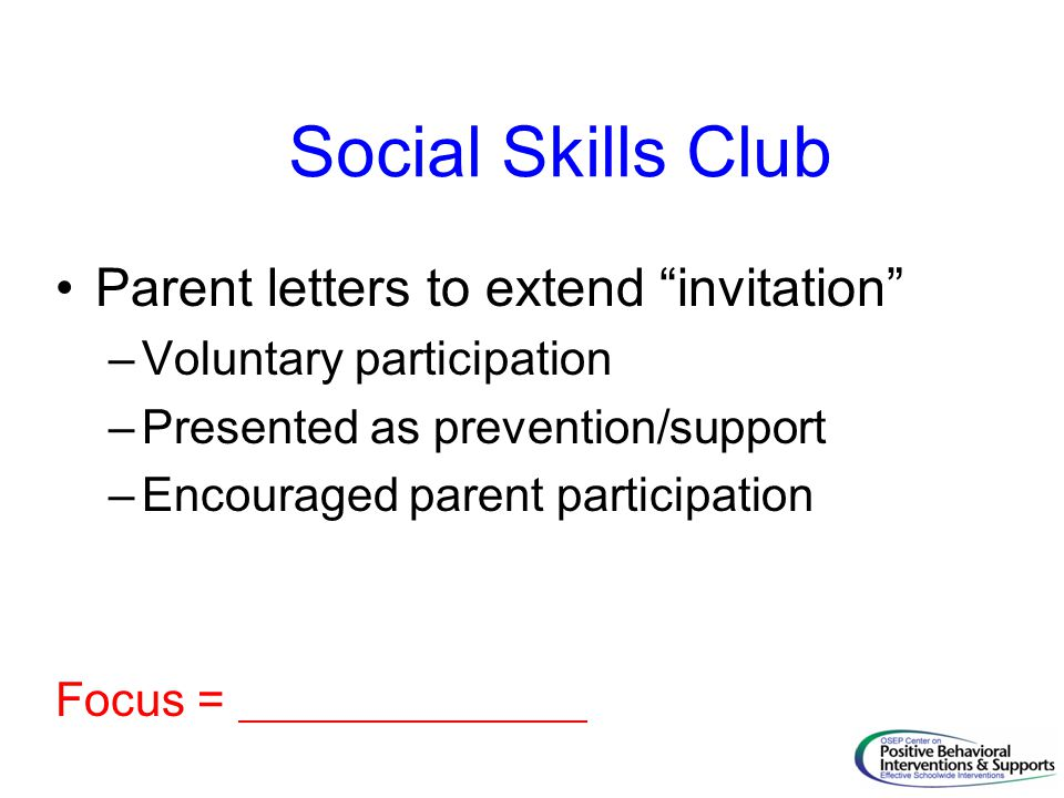 Social Skills Club Parent letters to extend invitation