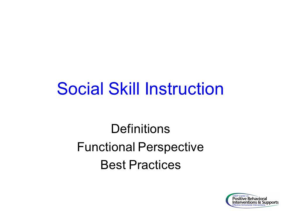 Social Skill Instruction