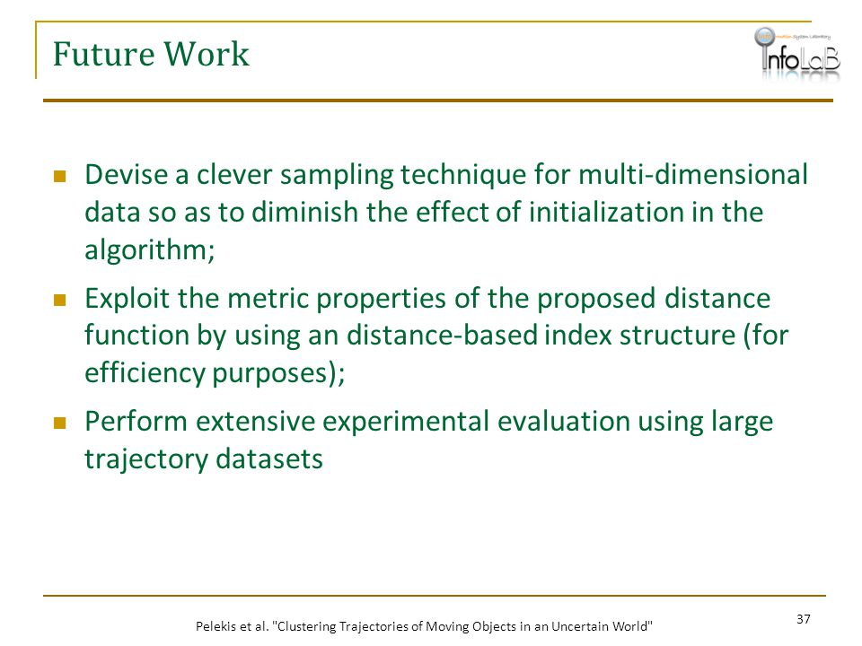 Future Work Devise a clever sampling technique for multi-dimensional data so as to diminish the effect of initialization in the algorithm;