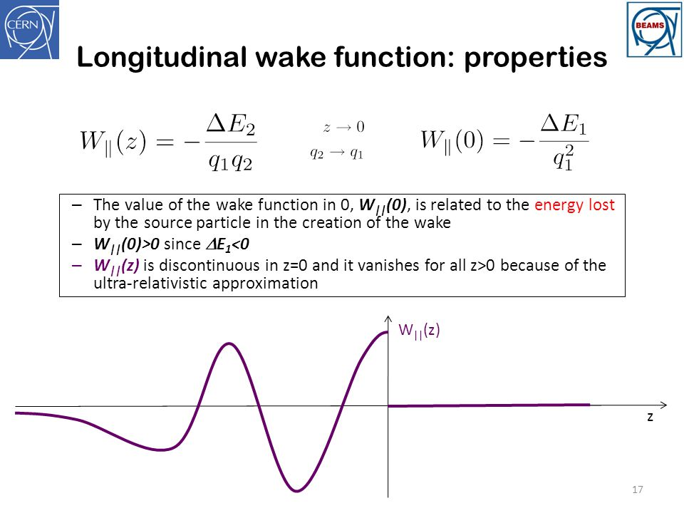Longitudinal wake function: properties