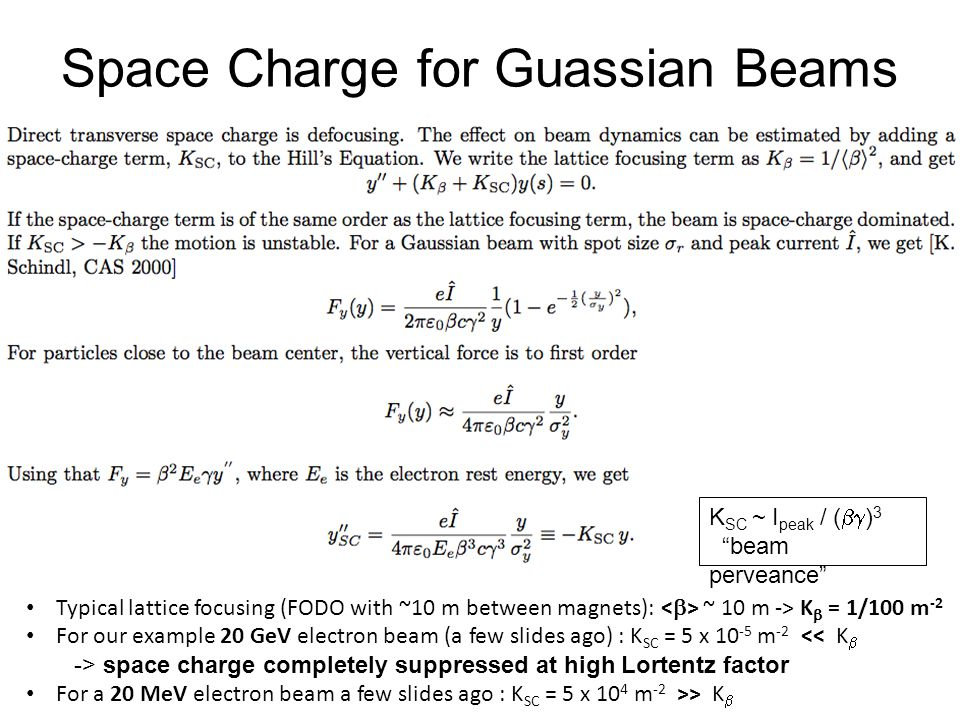 Space Charge for Guassian Beams