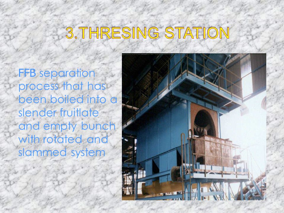 3. THRESING STATION FFB separation process that has been boiled into a slender fruitlate and empty bunch with rotated and slammed system.