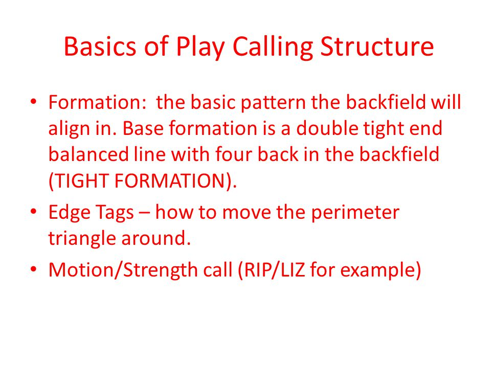 Basics of Play Calling Structure