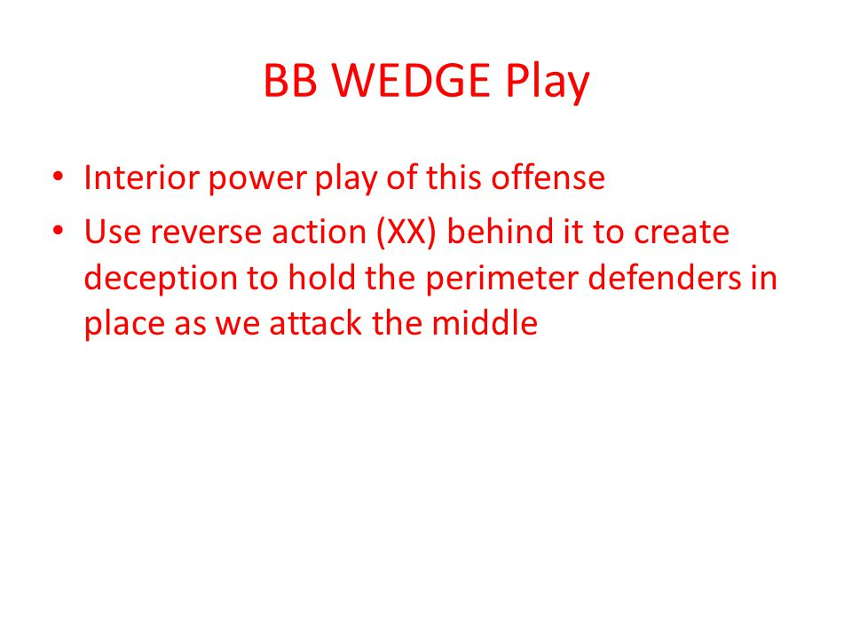 BB WEDGE Play Interior power play of this offense