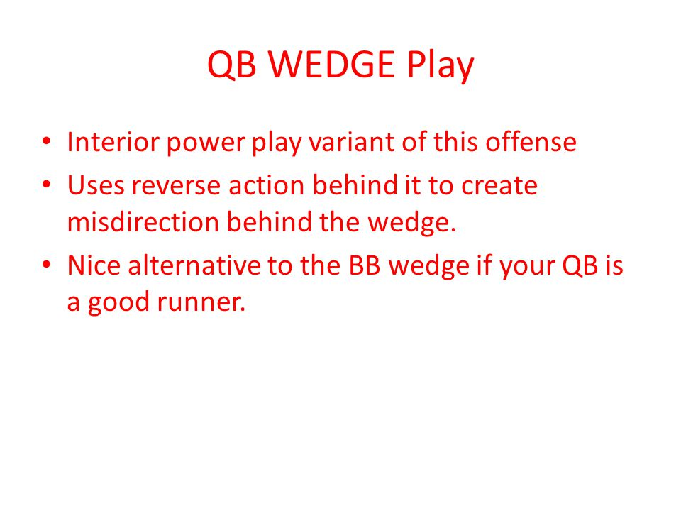 QB WEDGE Play Interior power play variant of this offense