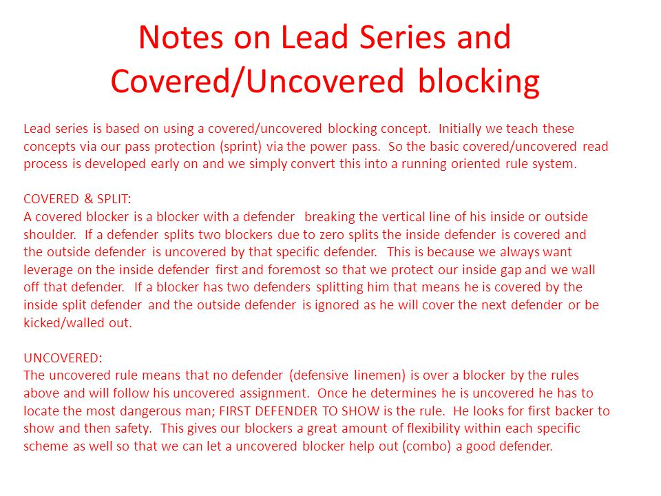 Notes on Lead Series and Covered/Uncovered blocking