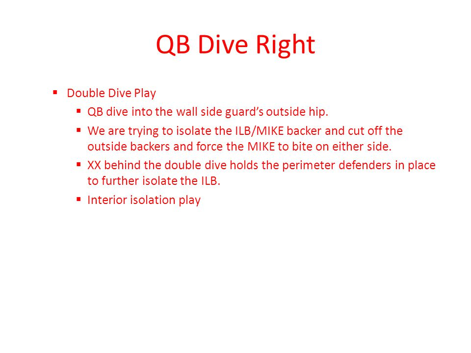 QB Dive Right Double Dive Play