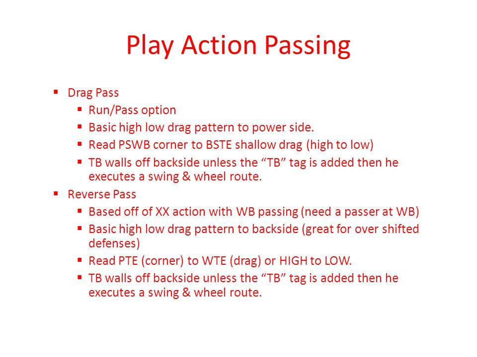 Play Action Passing Drag Pass Run/Pass option