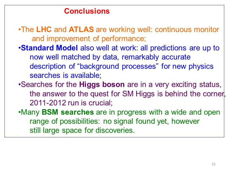 Conclusions The LHC and ATLAS are working well: continuous monitor. and improvement of performance;