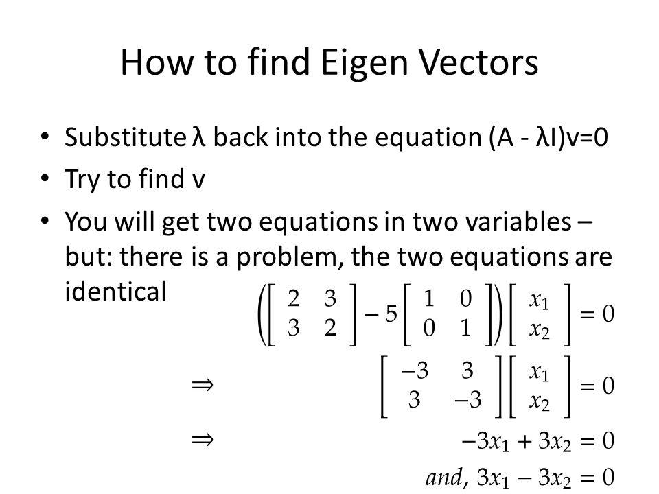 How to find Eigen Vectors