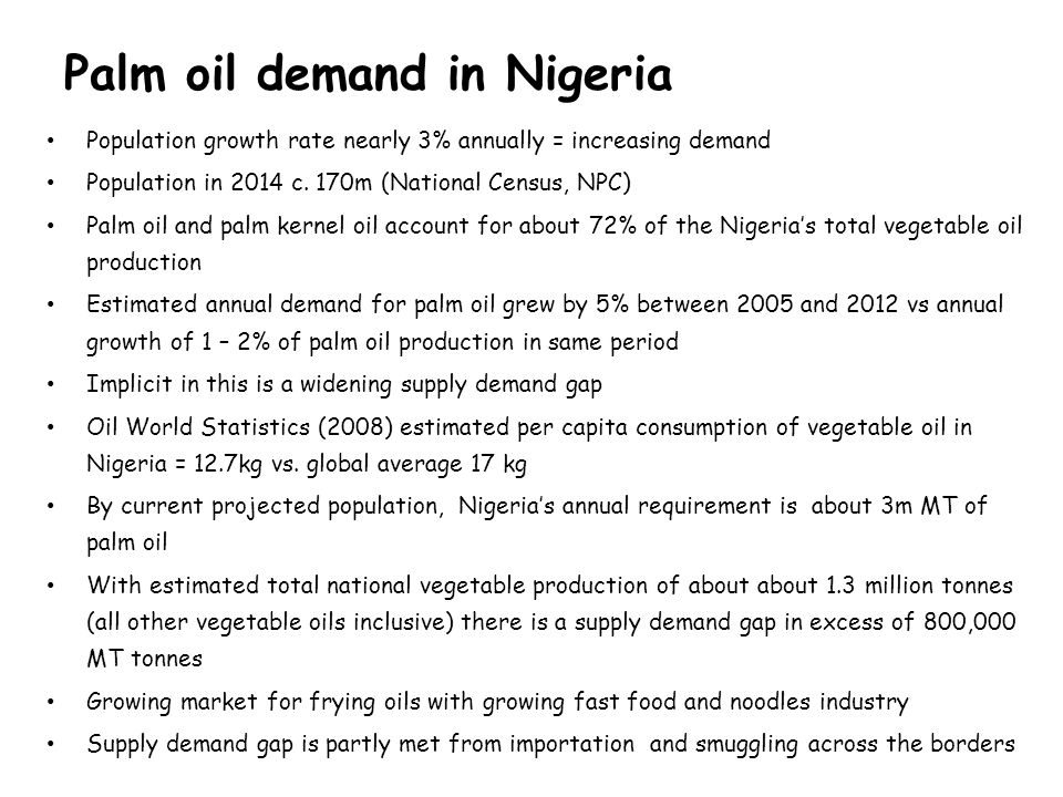 Palm oil demand in Nigeria