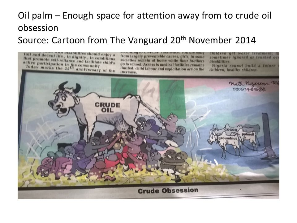 Oil palm – Enough space for attention away from to crude oil obsession Source: Cartoon from The Vanguard 20th November 2014
