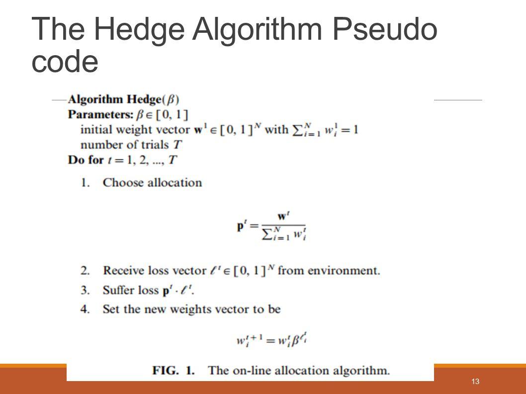 The Hedge Algorithm Pseudo code