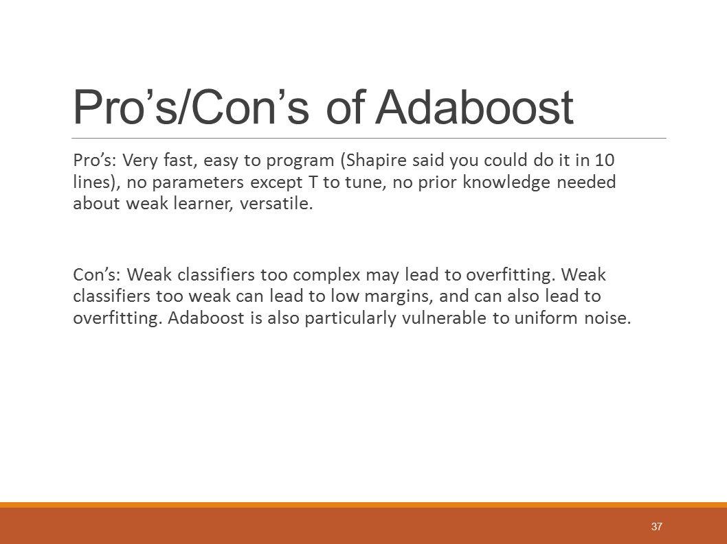 Pro's/Con's of Adaboost