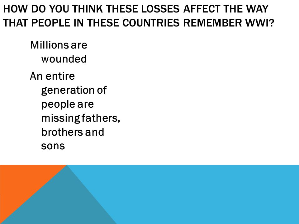 How do you think these losses affect the way that people in these countries remember WWI